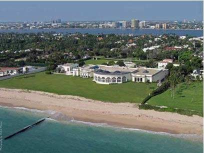 Residence is 80,000 square feet with nine-bedrooms, a ballroom, a conservatory and a 48-car (yes, you read that right) garage, bought by Russian fertilizer billionaire Dmitry Rybolovlev for $95 million.
