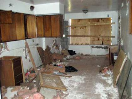Vacant home-kitchen has been destroyed