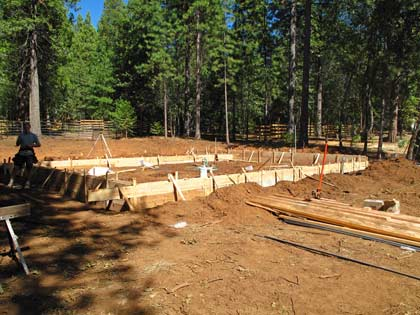 The perimeter foundation is formed, ready for concrete to be poured.