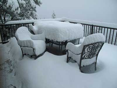 There's 12 inches of snow on top of the table