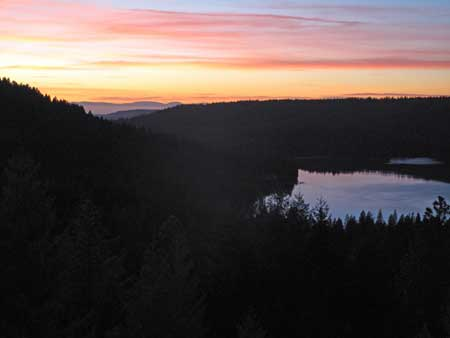 Sunset over Scotts Flat Lake from my deck 2/3/11 In the background is the Coast Range