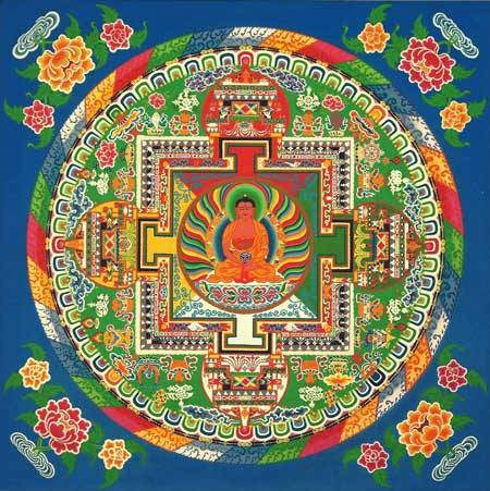 This completed mandala was made by the monks when they visisted Grass Valley
