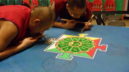 The center of the mandala.  When finished it will be about 4 feet across. Photo by John J. O'Dell