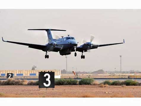 The first MC-12 Liberty aircraft lands after its first combat mission in June 2009 at Joint Base Balad, Iraq. U.S. Air Force