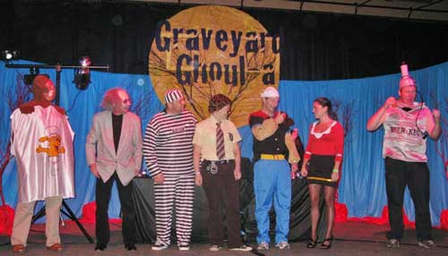 Adults have fun at a costume contest at last year's Graveyard Ghoul-a at the Nevada County Fairgrounds. This year's event is October 27 from 8 pm – midnight.